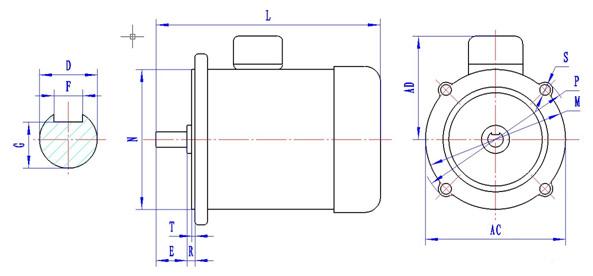YY(DO2)系列单机电容运转异步电动机是全国统一设计的产品,具有国内外同类产品的优点。结构合理简单、外形美观、运行可靠、技术经济指标优异、维修方便,并符合国际电工委员会IEC标准中的有关规定,适宜一般驱动用。外壳防护等级为IP44,E级绝缘,接续盒在电动机顶部,其安装方式有下列四种基本形式: 1. B3机座有底脚,端盖上无凸缘; 2. B34机座有底脚,端盖上有小凸缘,轴伸在凸缘端; 3. B14机座无底脚,端盖上有小凸缘,轴伸在凸缘端; 4. B5机座无底脚,端盖上有大凸缘,轴伸在凸缘端。 技术参数: